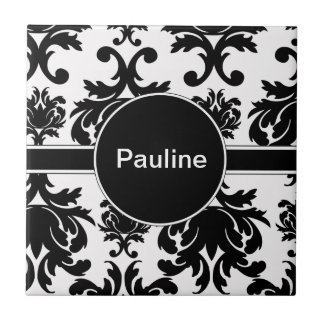 Damask Monogram Ceramic Tile