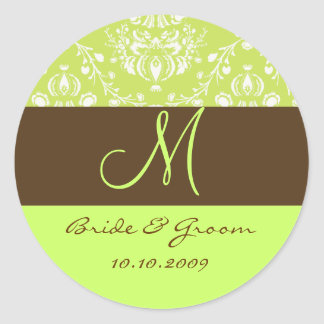 Damask monogram classic round sticker