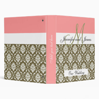 Damask Monogram Coral Sage Wedding Planning Binder