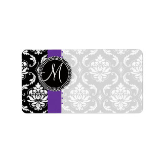 Damask Monogram Dots Labels Purple