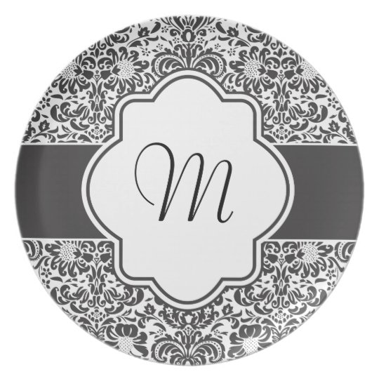 Damask Monogram Graphic Plate