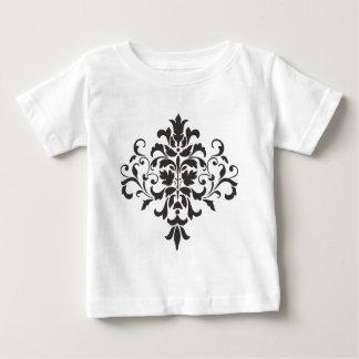 Damask Monogram in Elegant Gray and Black Baby T-Shirt