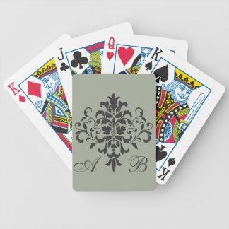 Damask Monogram in Elegant Gray and Black Bicycle Playing Cards