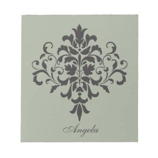Damask Monogram in Elegant Gray and Black Notepad