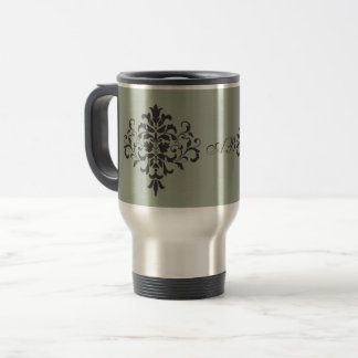 Damask Monogram in Elegant Gray and Black Travel Mug
