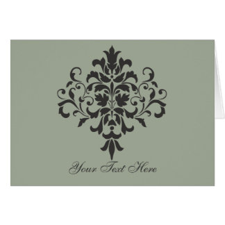 Damask Monogram in Elegant Gray or Grey Card