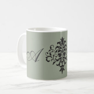 Damask Monogram in Elegant Gray or Grey Coffee Mug
