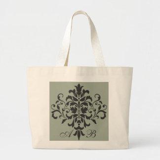 Damask Monogram in Elegant Gray or Grey Large Tote Bag