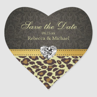 Damask Monogram Leopard Save the Date Stickers