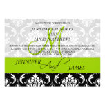 Damask Monogram Names Green Wedding Invitation