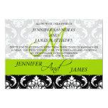 "Damask Monogram Names Green Wedding Invitation 5"" X 7"" Invitation Card"