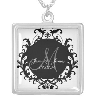 Damask Monogram Names Wedding Date Necklace