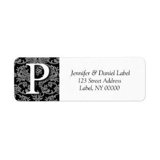 Damask Monogram P Address Mailing Labels