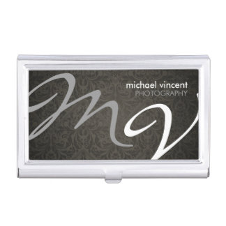 Damask Monogram Photography Business Card Holder