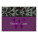 damask monogram purple note card
