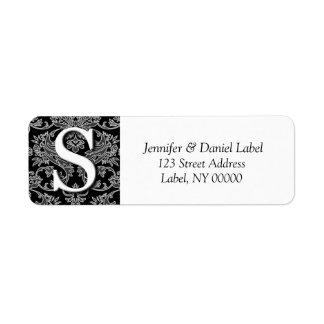 Damask Monogram S  Address Labels Printed