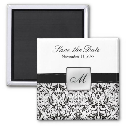 Damask Monogram Save the Date Magnets