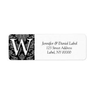 Damask Monogram W Return Address Labels
