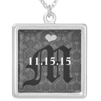 Damask Monogram Wedding Date Anniversary Necklace