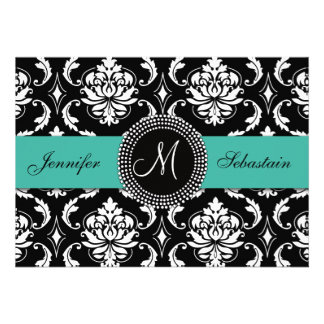Damask Monogram Wedding Invitations Turquoise