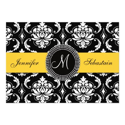 Damask Monogram Wedding Invitations Yellow