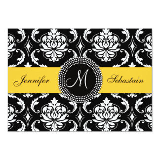 "Damask Monogram Wedding Invitations Yellow 5"" X 7"" Invitation Card"