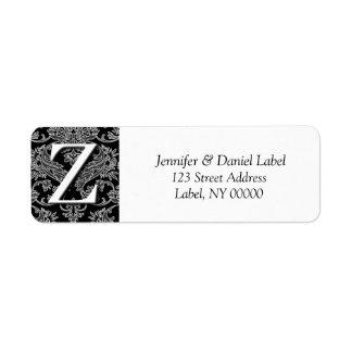 Damask Monogram Z Return Address Labels