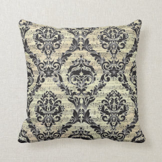 "Damask Music Note Throw Pillow 16"" x 16"""