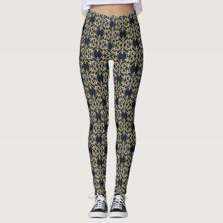 Damask navy blue gold leggings