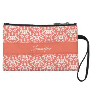 Damask orange emberglow name clutch bag