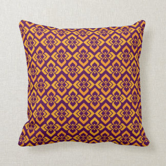 Damask orange purple complementary toned pillow