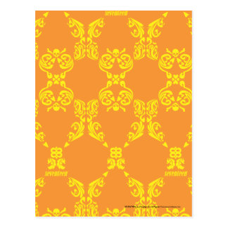 Damask Orange-Yellow Postcard