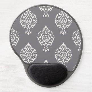 Damask Ornamental Big Pattern Cream on Grey Gel Mouse Pad