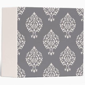 Damask Ornamental Big Pattern Cream on Grey Vinyl Binders