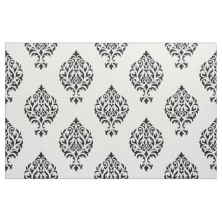 Damask Ornamental Big Ptn Black on White Fabric