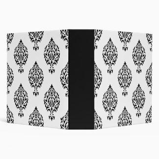 Damask Ornamental Big Ptn Black on White Vinyl Binder