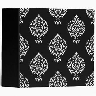 Damask Ornamental Big Ptn White on Black Binder