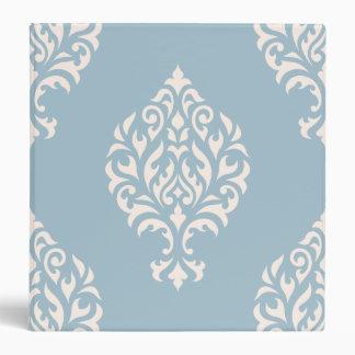 Damask Ornamental Large Pattern Cream on Blue Vinyl Binder