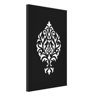 Damask Ornamental White on Black Design Canvas Print