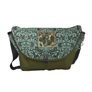 Damask ornate medieval picture messenger bag