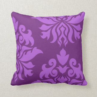 Damask Ornate Montage II Light on Dark Purple Throw Pillows