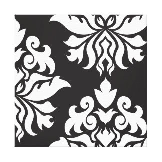 Damask Ornate Montage II White on Black Gallery Wrap Canvas