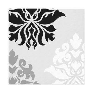 Damask Ornate Montage Monochrome I Canvas Print