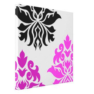 Damask Ornate Montage Pink Plum Grey Black Gallery Wrap Canvas
