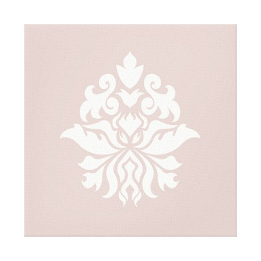 Damask Ornate Pattern - cream on pink Gallery Wrap Canvas