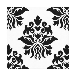 Damask Ornate Repeat Pattern - black on white Canvas Prints