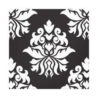 Damask Ornate Repeat Pattern - white on black Gallery Wrap Canvas