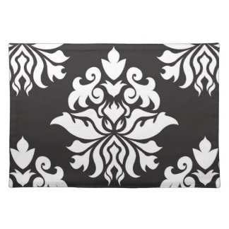 Damask Ornate Repeat Pattern - white on black Placemat