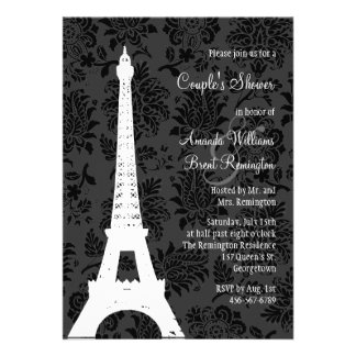 Damask Paris Couple s Shower Custom Invites