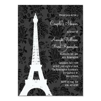 """Damask Paris Couple's Shower 5"""" X 7"""" Invitation Card"""